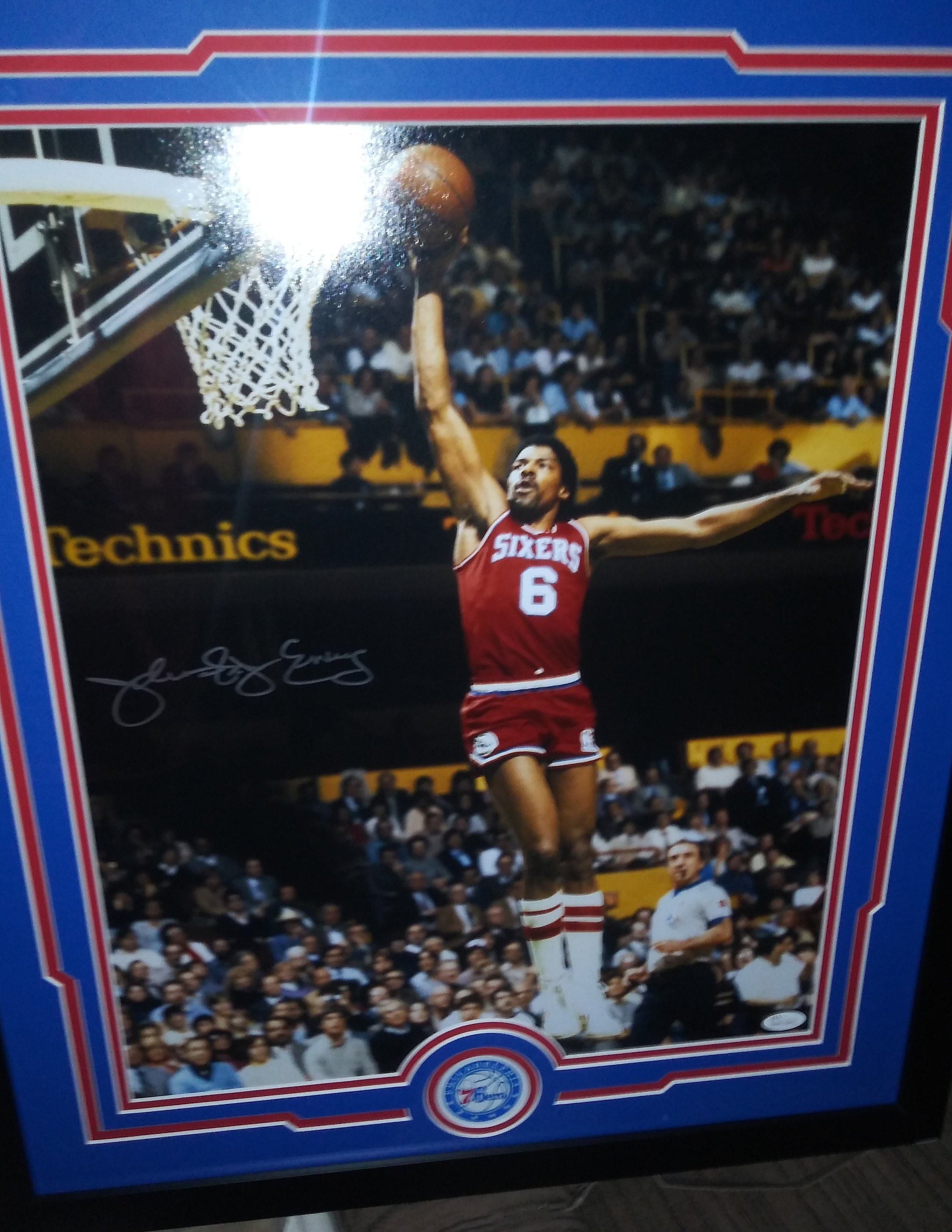 4eb1325c56ee Julius Dr. J Erving Philadelphia 76ers Signed 22x26 Custom Matted   Framed  16x20 Photo Display ABA New Jersey Nets (JSA COA) High Quality!