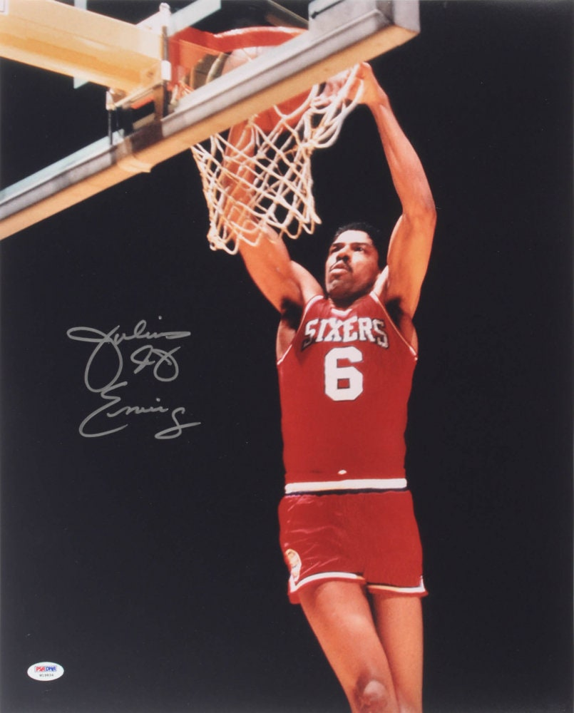 7e28bf1d1 Julius Dr. J Erving (HOF) Signed Autographed 16x20 Slam Dunk Photo ~  Philadelphia 76ers ~ New Jersey Nets (PSA COA)