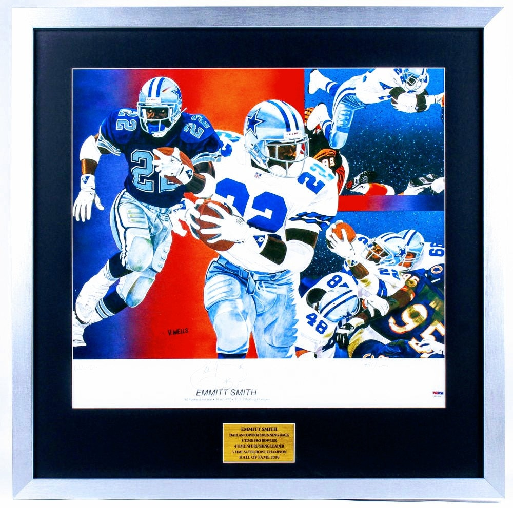 Dallas Cowboys Emmitt Smith Signed 28x28 Custom Framed Limited