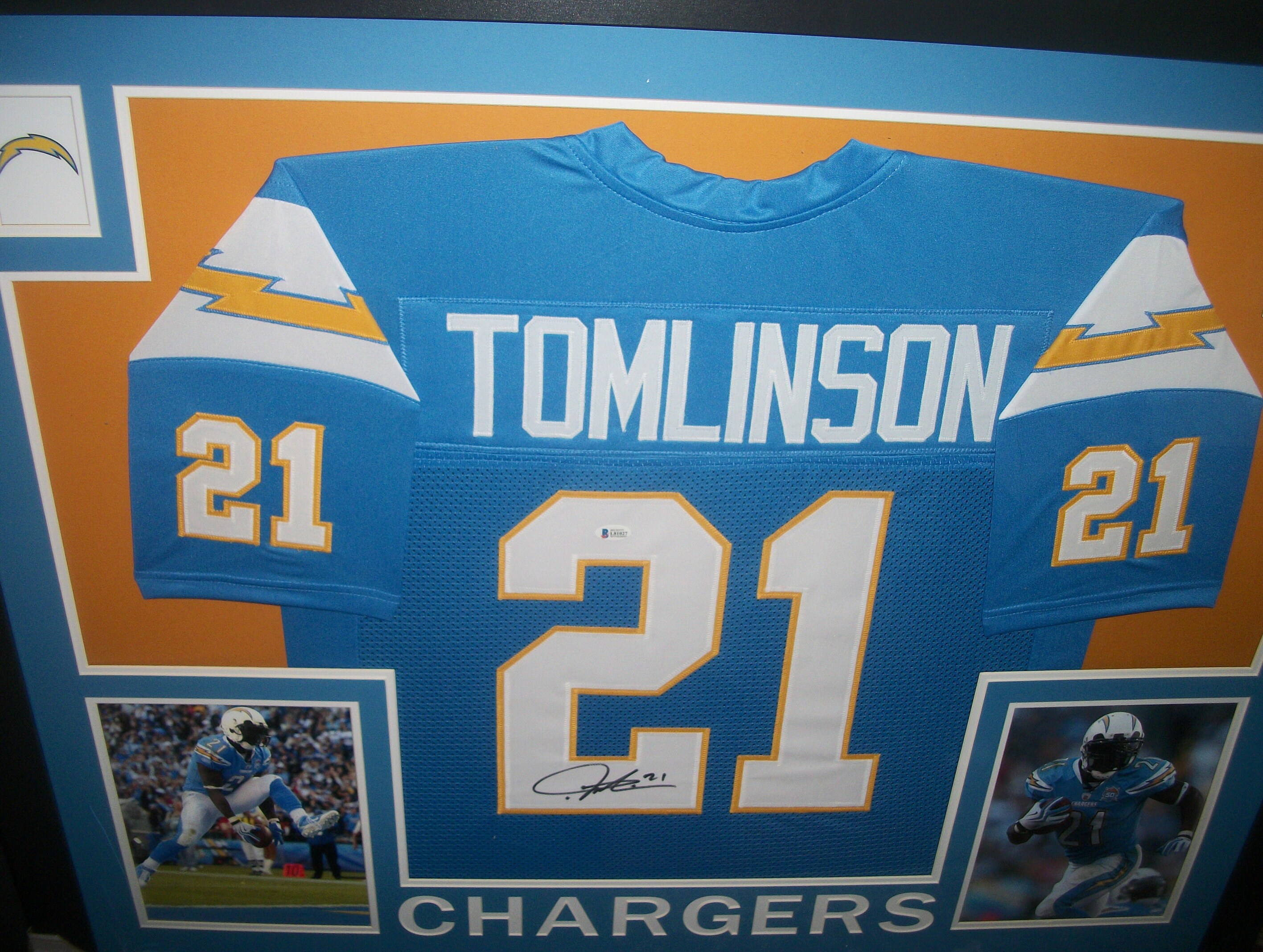 3c432fd46 LaDainian Tomlinson Signed San Diego Chargers Powder Blue Throwback Jersey  35x43 Custom Framed Display ~ Los Angeles LA Rams (Beckett COA)