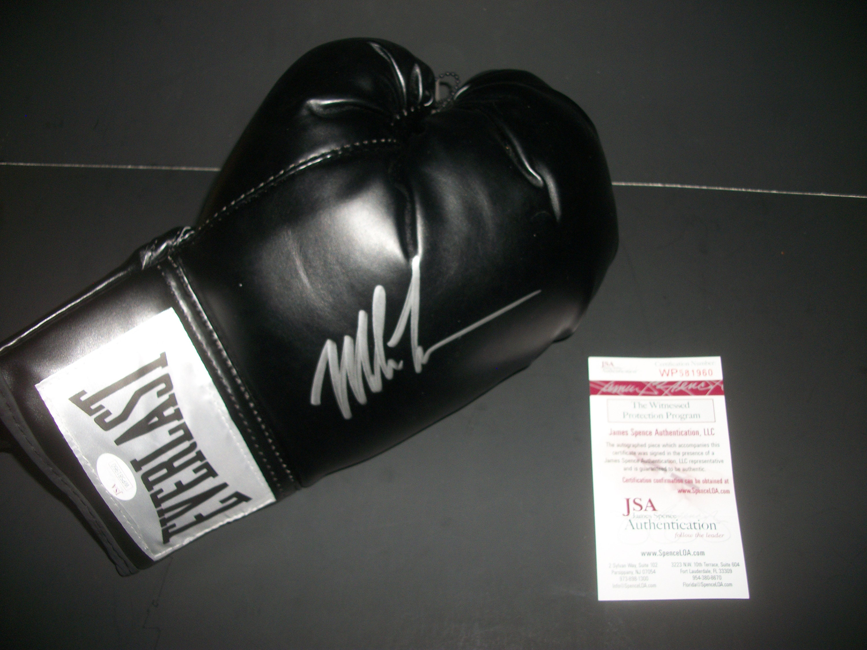f8b4b93cc8f Mike Tyson Signed Autographed Black Everlast Full-Size Boxing Glove with  Display Case! (JSA COA)  WP581960