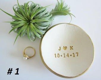 Porcelain Ring dish, wedding ring holder, white and gold Ring dish, ring holder ceramic, engagement gift,