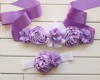 Vintage dress flower sash and headband