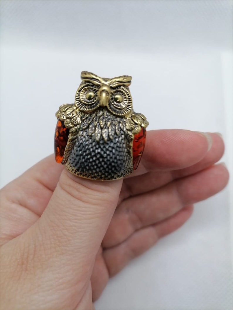 Russian \u0421ollectible brass  thimble Baltic amber owl
