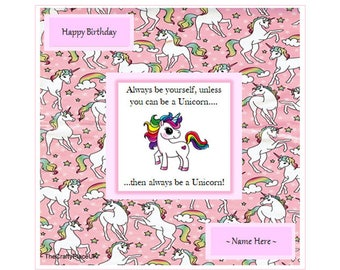 Unicorn Birthday Card, Cute/Humorous, 3D Effect, Personalised, Congratulations, Get Well Soon, Christmas etc.