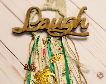 Vintage ornament with wood and metal  / good luck charm 2018