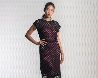Crochet dress with silk and lace slip