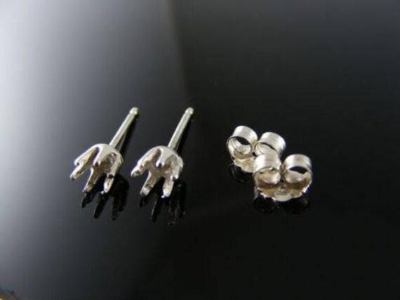 Paramètres SMEr38 de boucle d'oreille argent, Pierre de ronde de SMEr38 3 mm acbb75