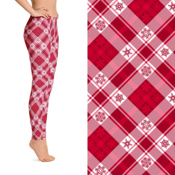 2b27e852dd908 Christmas Leggings with Red Snowflake Plaid Printed design in Sizes S, M,  L, & XL