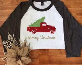 Merry Christmas shirt, Old truck shirt, Christmas shirt