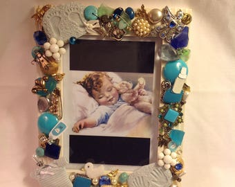 7x9 Beautiful  Baby Boy Jeweled Picture Frame Blue And White with Attentin to Detail...