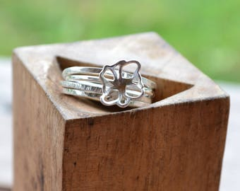 Fleur Ring with Stackable Rings
