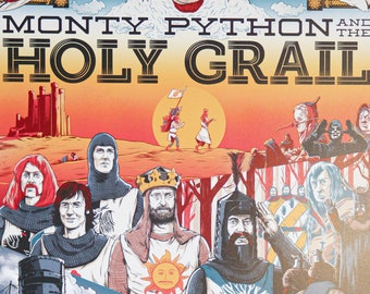 Monty Python Print  Caerbannog Vintage Style Travel Poster inspired by Monty Python and The Holy Grail Poster