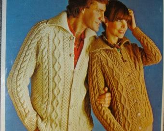 08b746876 Knitting Pattern Lister Lee K1253 His   Her Aran Cardigans Vintage 1970 s  Original