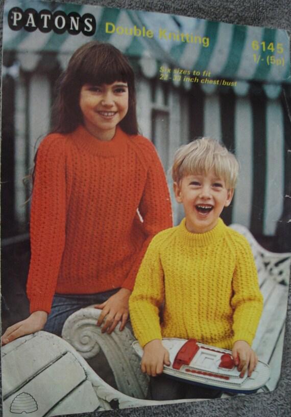 Knitting Pattern Paton 6145 Double Knit Sweaters Vintage Etsy