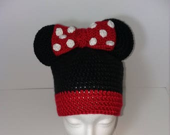 Mouse ears /Novelty Women's Hat/Crochet/Teen/Gift/Winter/Warm