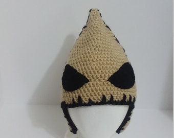 5d312b4a69473 Oogie Boogie Inspired Hat Nightmare Before Christmas Crochet Hat with Ear  Flaps Child size
