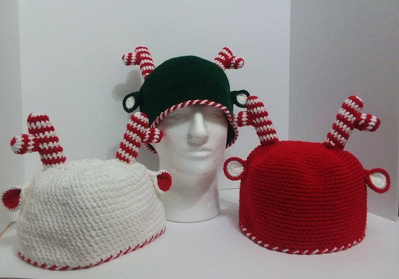 da6409433 Peppermint Candy Cane Reindeer Christmas Crochet Holiday Hat/Made to Order  Christmas Hat/Christmas Card Photo Prop Hat/ Ugly Christmas
