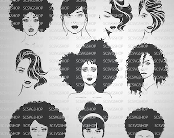 Diva Bundle, Set of 10, Beauty, Afro Diva, Hair, Natural, bougie, Silhouette File, Cut File, DIY, Cricut,Vector Image Commercial Use,