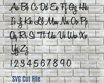 Script Font svg cut file, Silhouette File, Cut File, SVG, DXF, Alphabet, DIY, Print, Calligraphy font, Design Space, Digital download