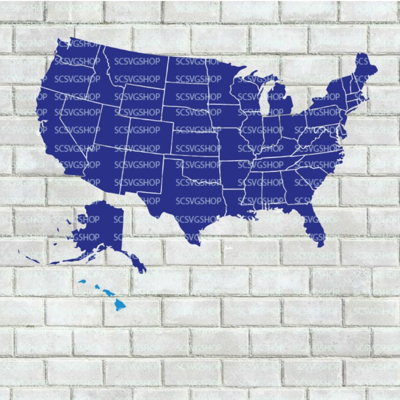 50 States Cut File United States Map Separated States Svg Etsy - Us-map-separated-by-region