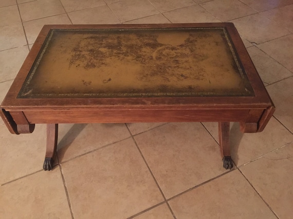 Antique Coffee Table With Brass Feet