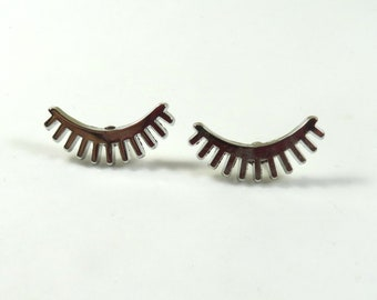 00f1fdeee Eyelashes earrings, Eyelashes studs, Eyelash jewelry, Metal studs