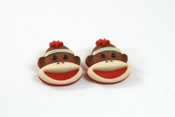Sock Monkey Glass Top Dangle Earrings Handcrafted Gift for Sock Monkey Lovers