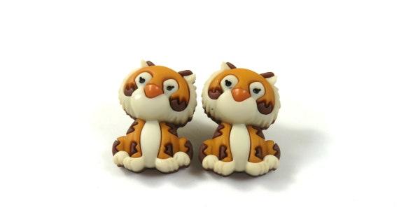 Tiger studs, Tiger earrings, Cute tiger jewelry, Cat earrings, Cat studs, Pet tiger earrings, Tiger gift, Rajah earrings