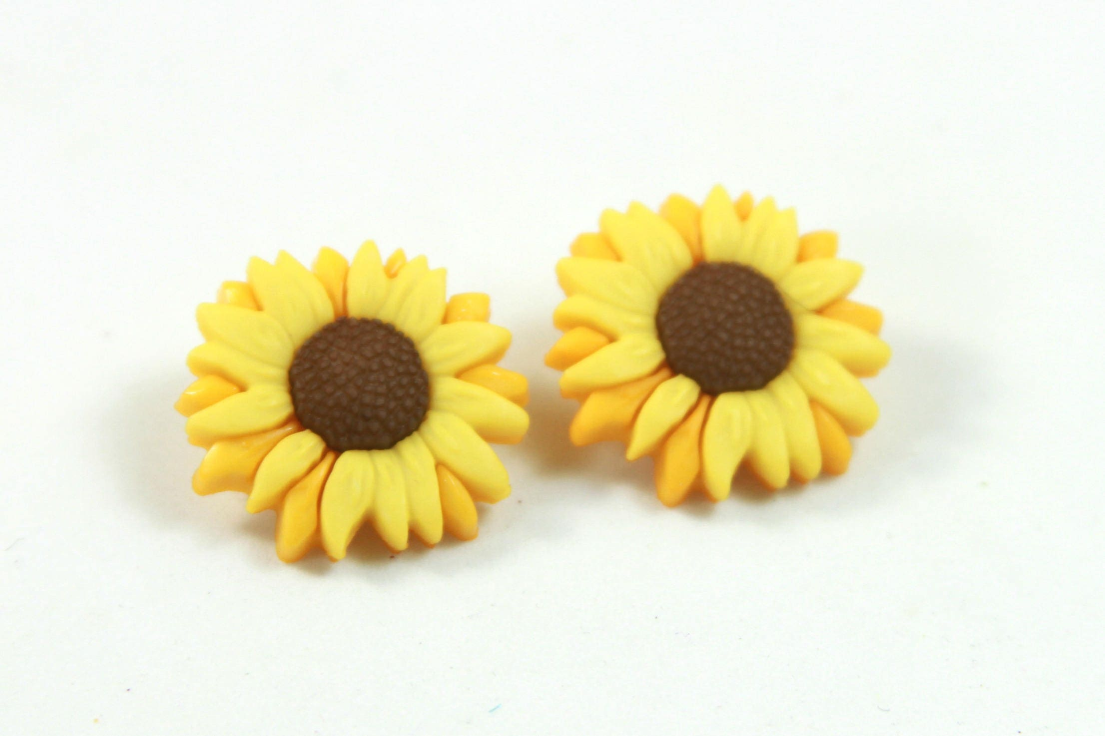 Sunflower Earrings Sunflower Studs Flower Earrings Etsy