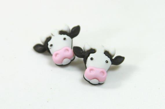 50% Preis klar und unverwechselbar Online-Verkauf Kuh Ohrringe Kuh Ohrstecker schwarz und weiß Ohrringe Bull | Etsy