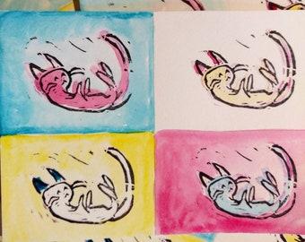 Kitten Postcards / Pop Art / Primary Colors / Cute Fun Mail Art / Handmade Cards (Set of 4)