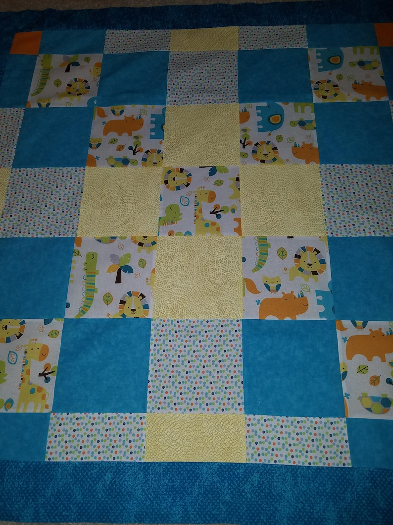Nursery Crib Rocker Blanket Handmade Patchwork Baby Boy Jungle Theme Quilt CUSTOM OPTION Pieced Quilt Top or Finished Quilt Animal Theme