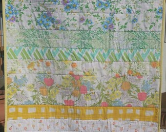 Vintage Sheet Baby Quilt, Crib Size, One of a kind, Rainbow Baby!