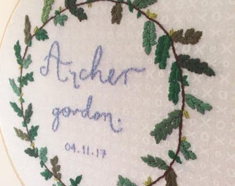 hand embroidered custom name hoop