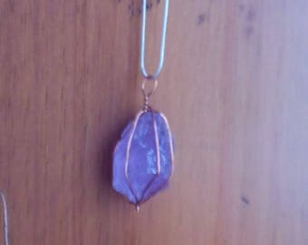 Hand-made Raw Amethyst Necklace Wrapped with Copper Wire