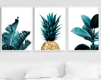 Set Of 3 Tropical Prints Palm Leaf Pineapple Print Ficus Tropical Wall Decor  Green Decor Tropical Printable Set Botanical Art Print