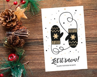 let it snow card winter christmas card christmas gift new year card new year gift holidays card winter decor winter print printable card
