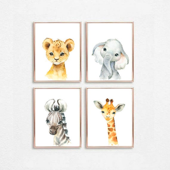 Kinderzimmer Tiere Drucken Baby Tiere Set 4 Neutrale Etsy