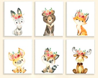 Girl Nursery Prints Girl Nursery Decor Woodland Baby Animal Prints Set of 6 Nursery Wall Decor Woodland Animals With Flowers Crown Baby Girl