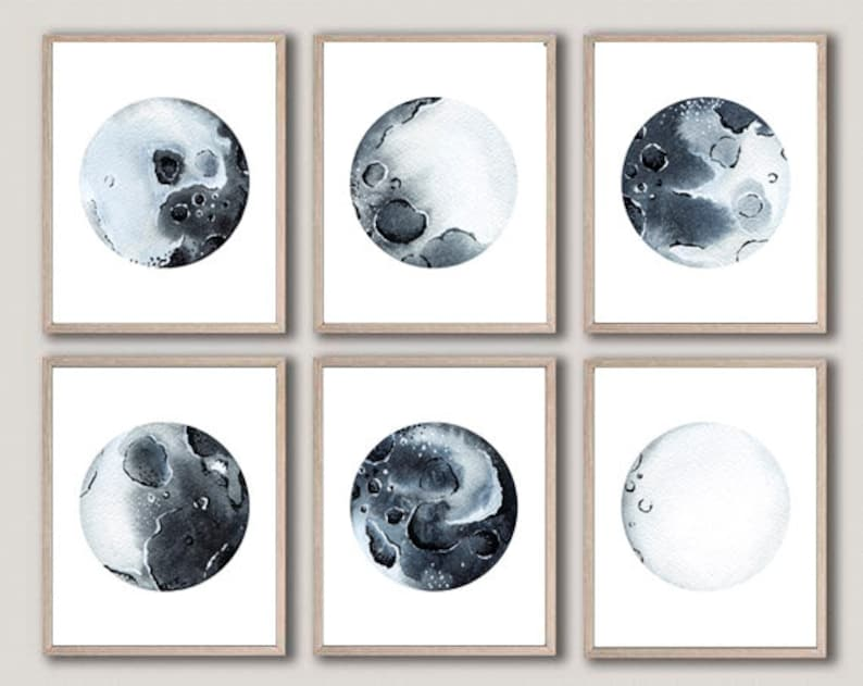 graphic regarding Printable Moon Phases named Moon Levels Artwork Printable Moon Levels Print Established of 6 Lunar Levels Artwork Print Moon Stages Wall Decor Moon Bed room Decor Lunar Stages Wall Artwork