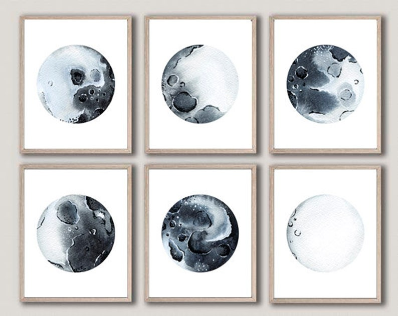 photograph regarding Moon Phases Printable identified as Moon Levels Artwork Printable Moon Levels Print Mounted of 6 Lunar Levels Artwork Print Moon Levels Wall Decor Moon Bed room Decor Lunar Levels Wall Artwork