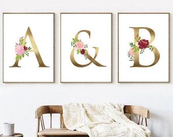 wedding monogram gold monogram printable custom couples monogram wedding sign couple initials couples letter print monogram