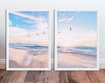 Coastal Print Set of 2 Beach Print Set Coastal Wall Decor Beach Photography Ocean Printable Wall Art Ocean Waves Print Seascape Print Downlo