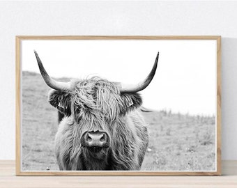 Highland Cow Print Black and White Highland Cow Printable Highland Cow Wall Art Digital Print Farm Animal Print Farm Decor Bull Print Buffal