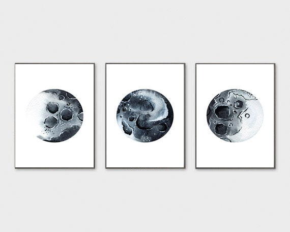 photo relating to Moon Phases Printable referred to as Fixed of 3 Moon Levels Print Moon Stages Wall Artwork Printable Black and White Moon Bed room Decor Lunar Stages Artwork Print Lunar Stages Decor Poste