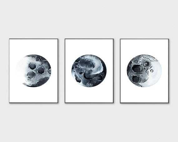 image regarding Moon Phases Printable identified as Fixed of 3 Moon Levels Print Moon Levels Wall Artwork Printable Black and White Moon Bed room Decor Lunar Levels Artwork Print Lunar Stages Decor Poste