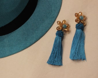 Light blue Tassle Earrings