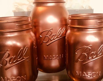 Set of 3 Rose Gold Ball Mason jars