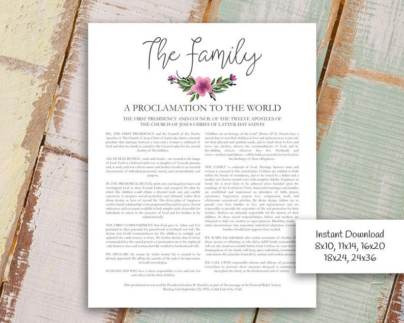 photograph relating to Family Proclamation Printable named The Spouse and children: A Proclamation in the direction of the Environment LDS Printable Electronic Down load Loved ones Proclamation Print